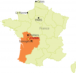 map of France, showing Civray