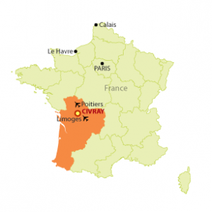 map of France showing Civray